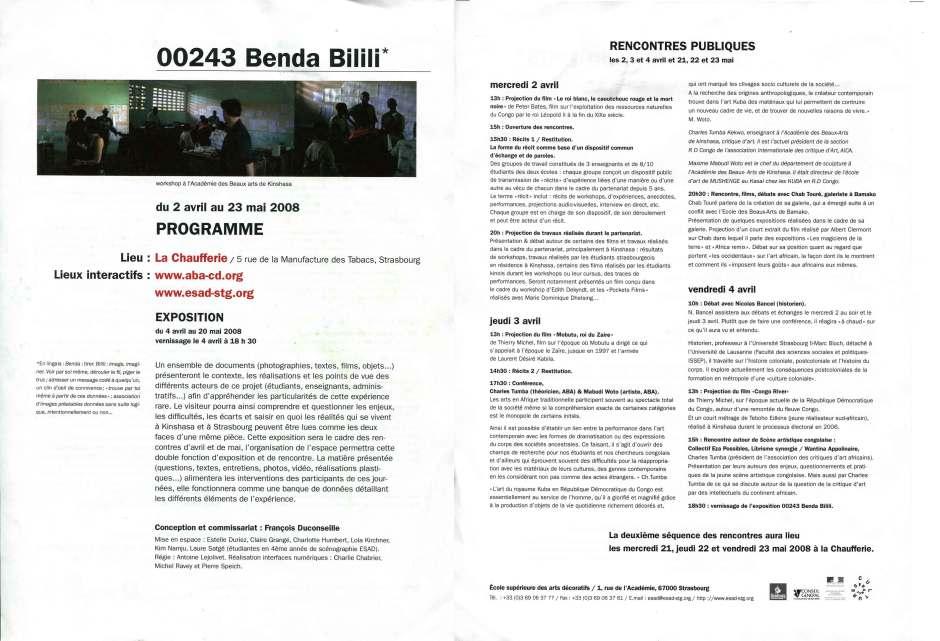 BENDA-BILILI-PROGRAMME
